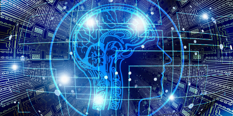 Blue digital lines making the outline of a head and brain