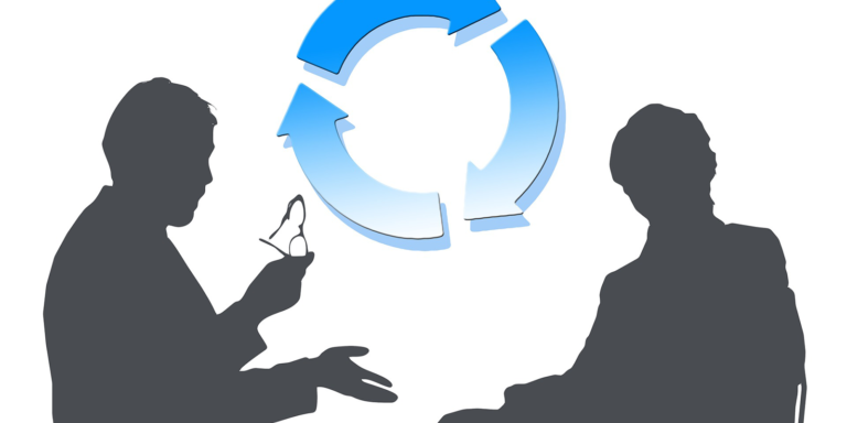 Two silhouettes having a conversation with a circle of blue arrows behind them
