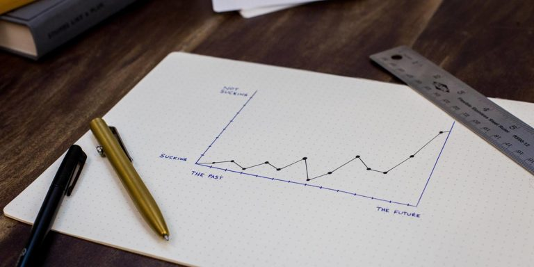 Graph drawn on paper depicting sales growth over a period of time.