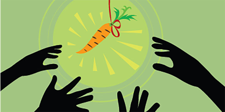 Four hands reaching for a carrot on a string attached to a stick.