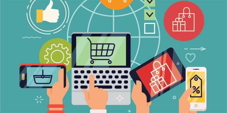Different individuals making online purchases from a tablet, smartphone, and laptop.